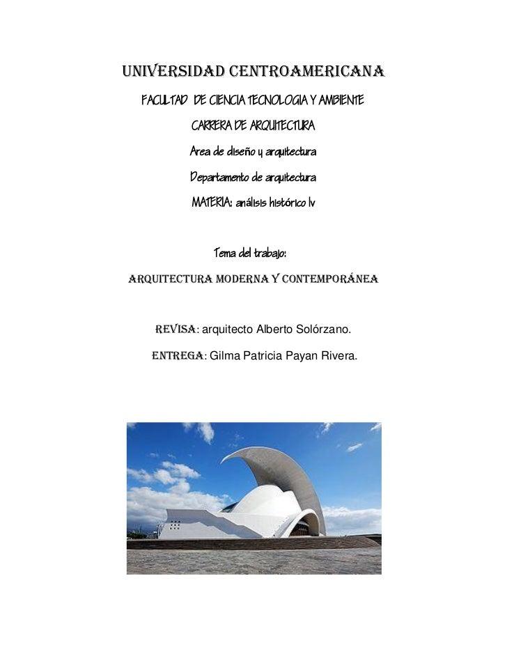 """ENSAYO: """"Arquitectura Moderna y Contemporánea""""."""