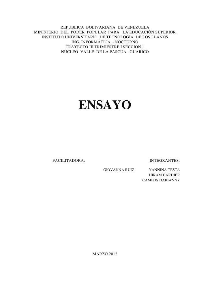 REPUBLICA BOLIVARIANA DE VENEZUELAMINISTERIO DEL PODER POPULAR PARA LA EDUCACIÓN SUPERIOR   INSTITUTO UNIVERSITARIO DE TEC...