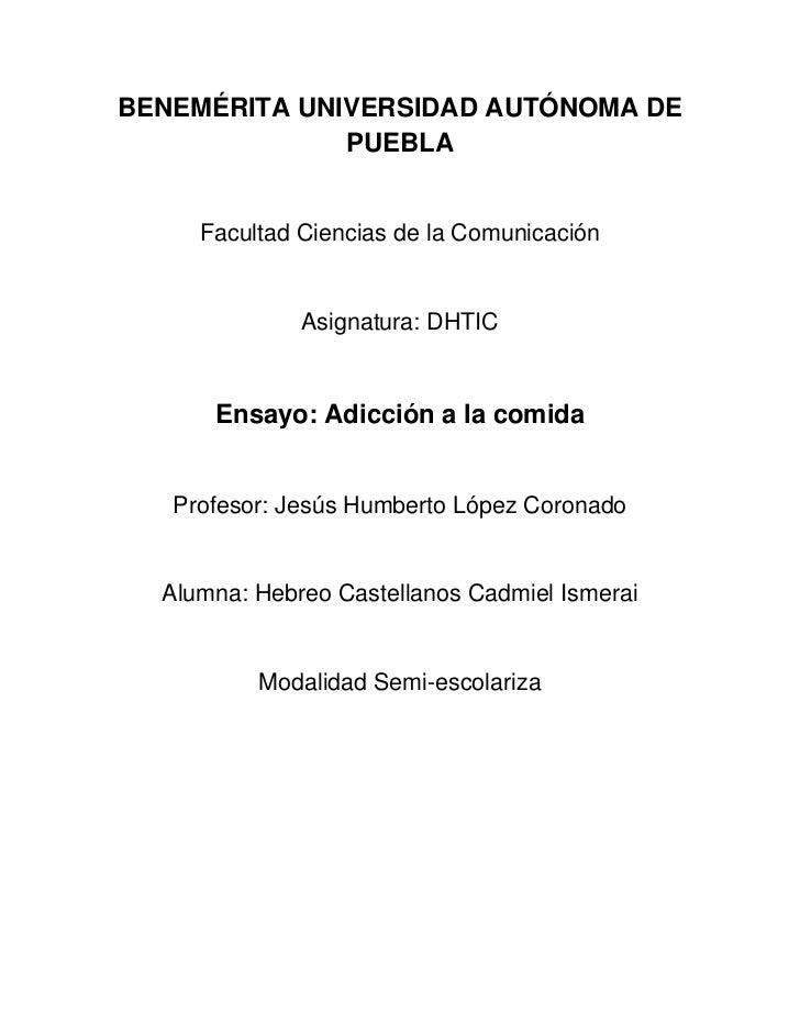 BENEMÉRITA UNIVERSIDAD AUTÓNOMA DE              PUEBLA     Facultad Ciencias de la Comunicación              Asignatura: D...