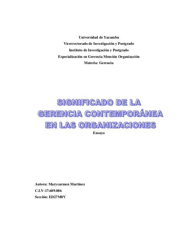 Universidad de Yacambu Vicerrectorado de Investigación y Postgrado Instituto de Investigación y Postgrado Especialización ...