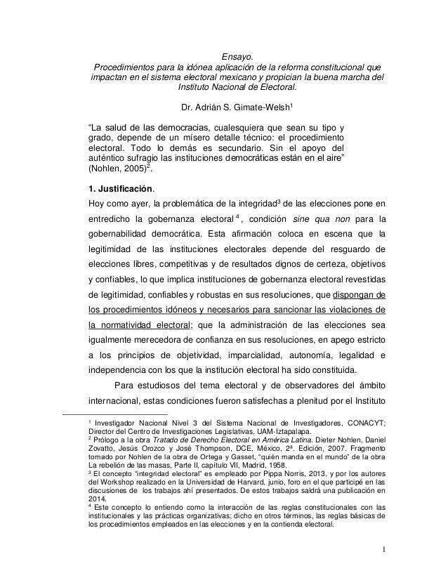 1 Ensayo. Procedimientos para la idónea aplicación de la reforma constitucional que impactan en el sistema electoral mexic...