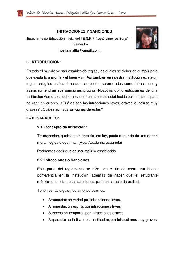 """Instituto De Educación Superior Pedagógico Público """"José Jiménez Borja"""" – Tacna INFRACCIONES Y SANCIONES Estudiante de Edu..."""