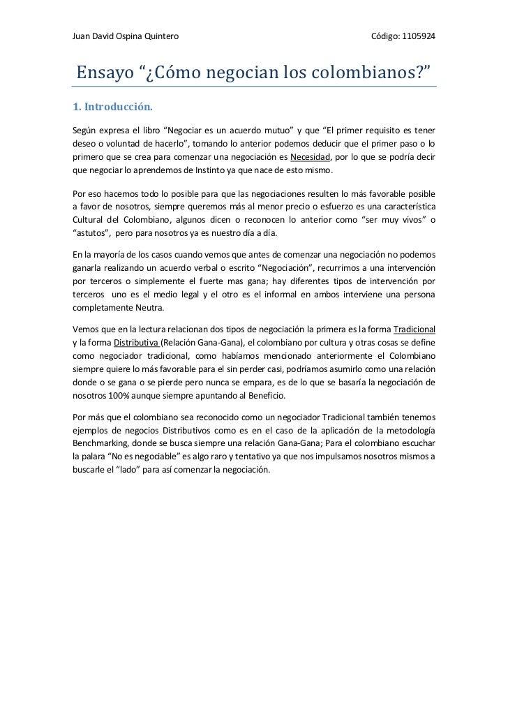 """Juan David Ospina Quintero                                                    Código: 1105924Ensayo """"¿Cómo negocian los co..."""