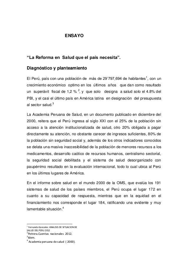 """ENSAYO  """"La Reforma en Salud que el país necesita"""". Diagnóstico y planteamiento El Perú, país con una población de más de ..."""