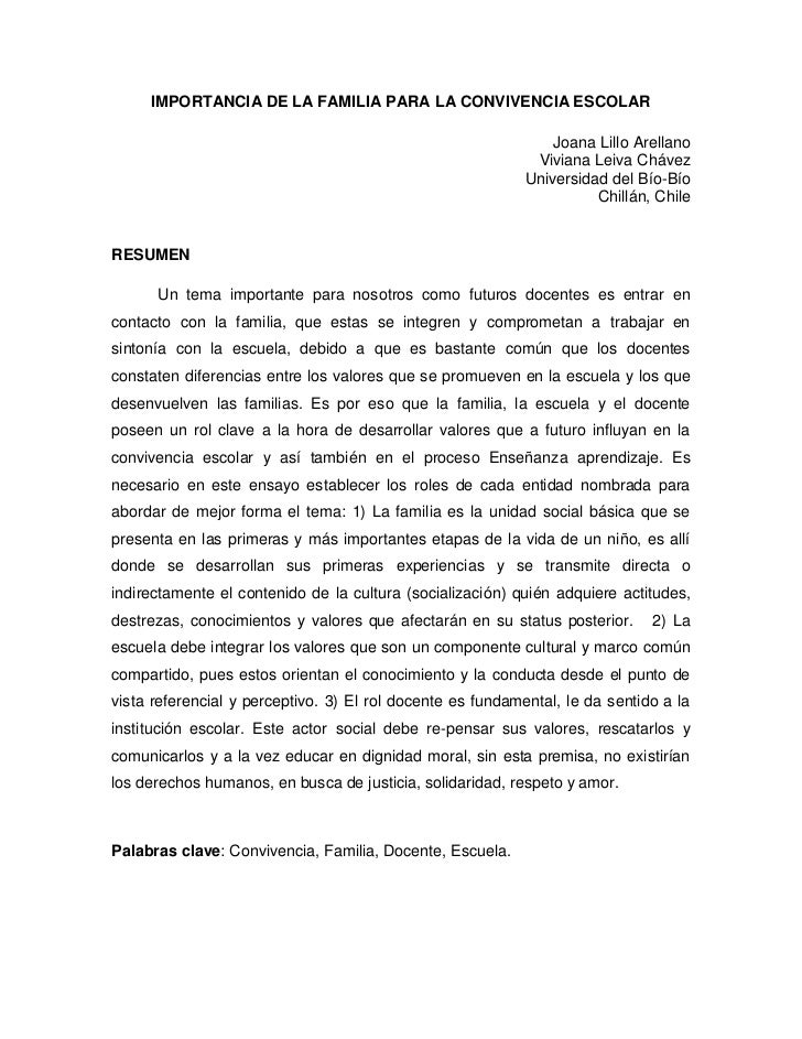 IMPORTANCIA DE LA FAMILIA PARA LA CONVIVENCIA ESCOLAR                                                                Joana...