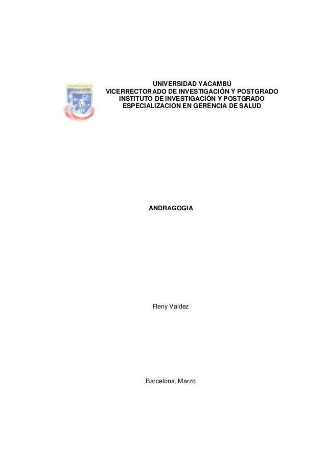 VIC UNIVERSIDAD YACAMBÚ ICERRECTORADO DE INVESTIGACIÓN INSTITUTO DE INVESTIGACIÓN Y PO ESPECIALIZACION EN GERENCIA D ANDRA...