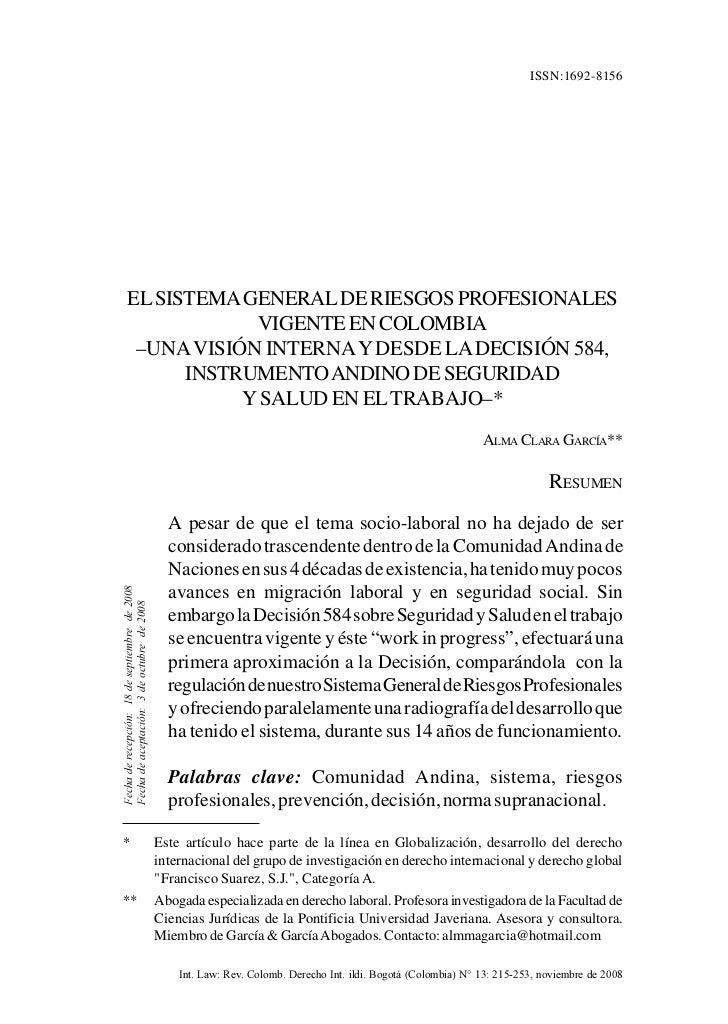 EL SISTEMA GENERAL DE RIESGOS PROFESIONALES VIGENTE EN COLOMBIA       215                                                 ...