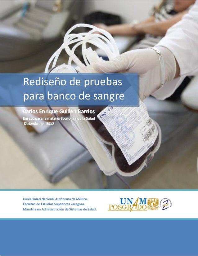 Rediseño de pruebas para banco de sangre