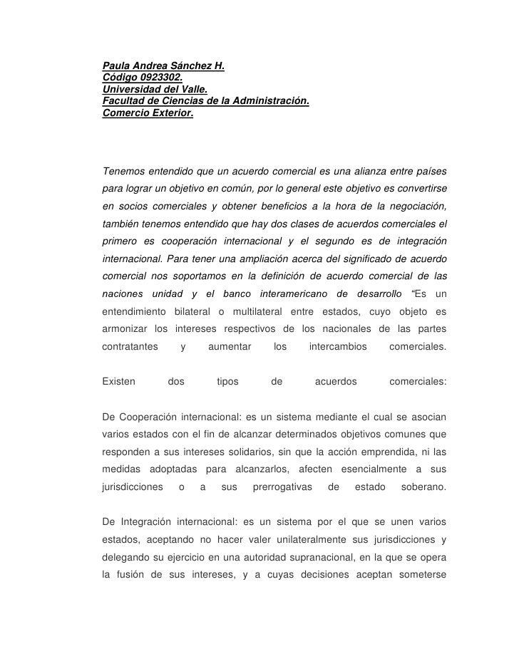 Paula Andrea Sánchez H.Código 0923302.Universidad del Valle.Facultad de Ciencias de la Administración.Comercio Exterior.Te...
