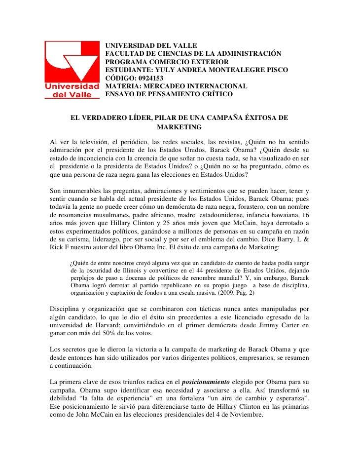 UNIVERSIDAD DEL VALLE                    FACULTAD DE CIENCIAS DE LA ADMINISTRACIÓN                    PROGRAMA COMERCIO EX...