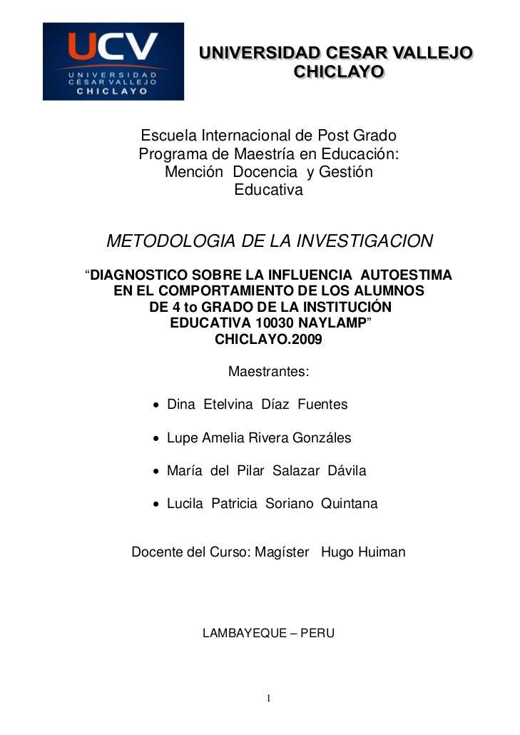 Escuela Internacional de Post Grado       Programa de Maestría en Educación:          Mención Docencia y Gestión          ...