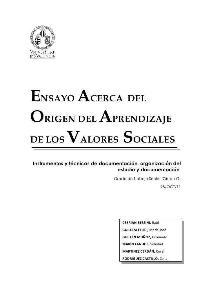 Ensayo acerca del origen del aprendizaje de los valores sociales