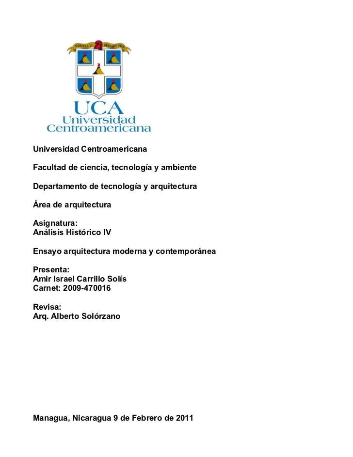 Universidad CentroamericanaFacultad de ciencia, tecnología y ambienteDepartamento de tecnología y arquitecturaÁrea de arqu...
