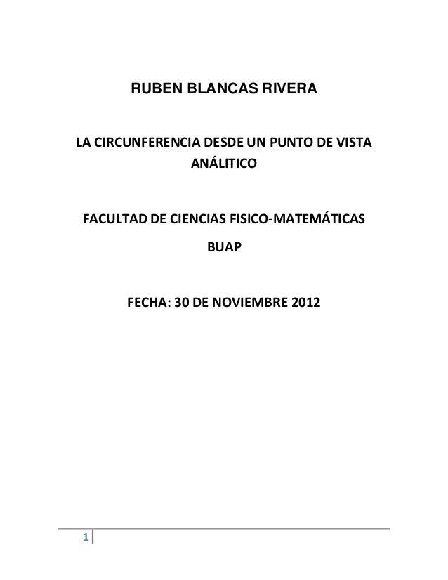 RUBEN BLANCAS RIVERALA CIRCUNFERENCIA DESDE UN PUNTO DE VISTA                ANÁLITICOFACULTAD DE CIENCIAS FISICO-MATEMÁTI...