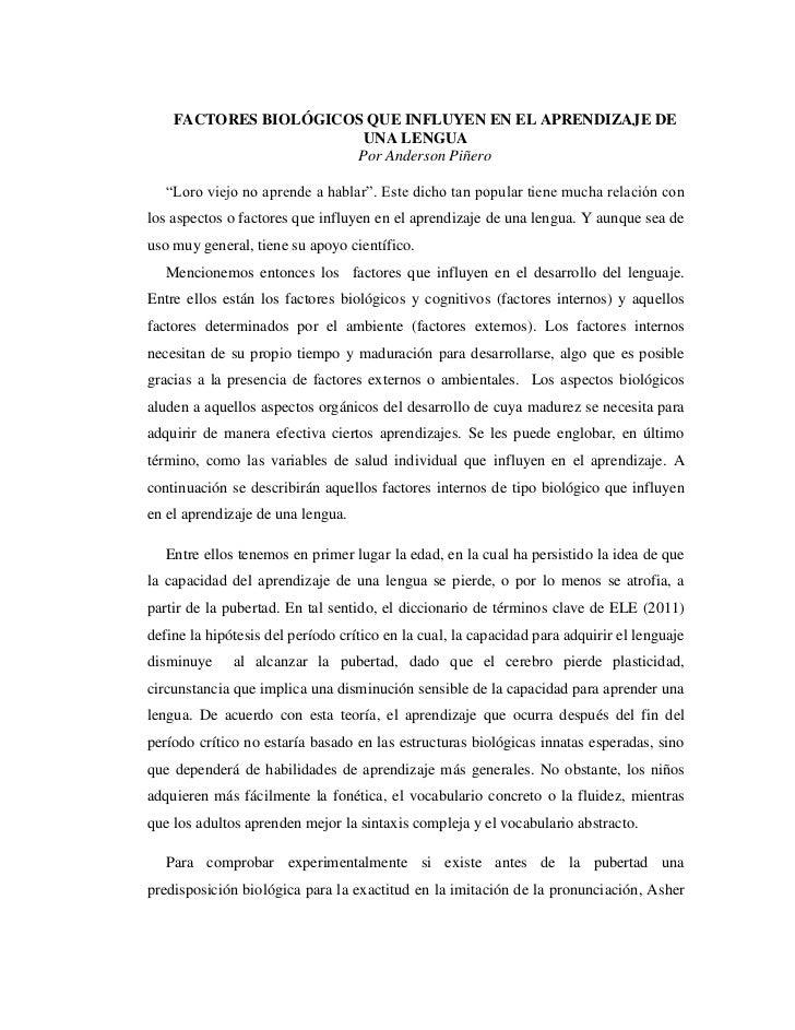 """FACTORES BIOLÓGICOS QUE INFLUYEN EN EL APRENDIZAJE DE UNA LENGUA<br />Por Anderson Piñero<br />""""Loro viejo no aprende a ha..."""