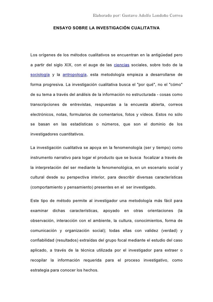 ENSAYO INVESTIGACION CUALITATIVA