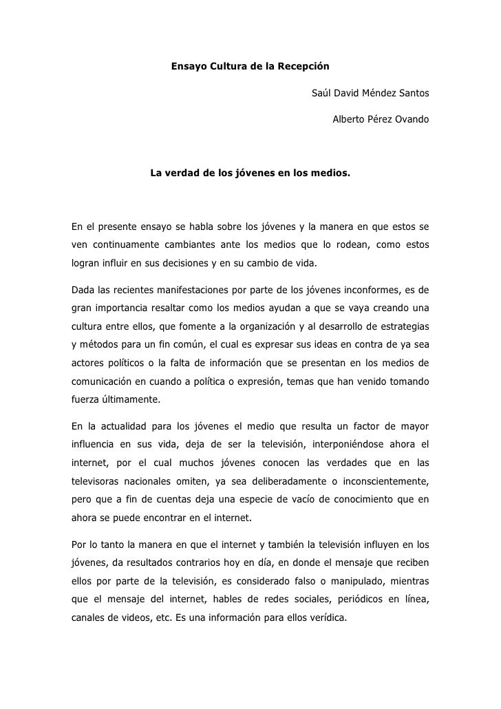 Ensayo Cultura de la Recepción                                                      Saúl David Méndez Santos              ...
