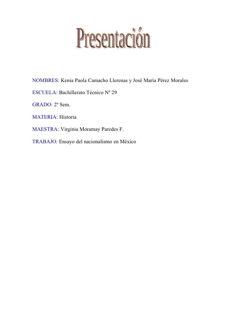 NOMBRES: Kenia Paola Camacho Llerenas y José María Pérez Morales  ESCUELA: Bachillerato Técnico Nº 29  GRADO: 2º Sem.  MAT...