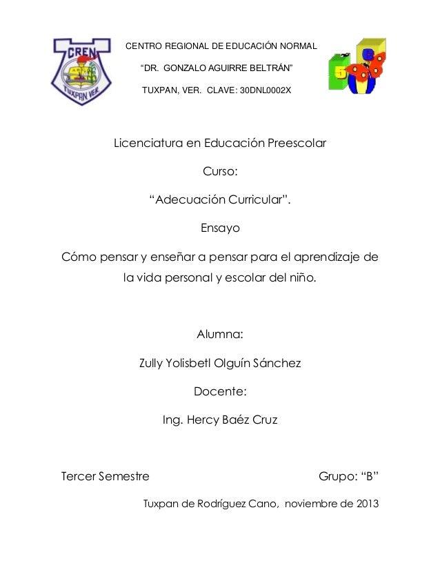 """CENTRO REGIONAL DE EDUCACIÓN NORMAL """"DR. GONZALO AGUIRRE BELTRÁN"""" TUXPAN, VER. CLAVE: 30DNL0002X  Licenciatura en Educació..."""