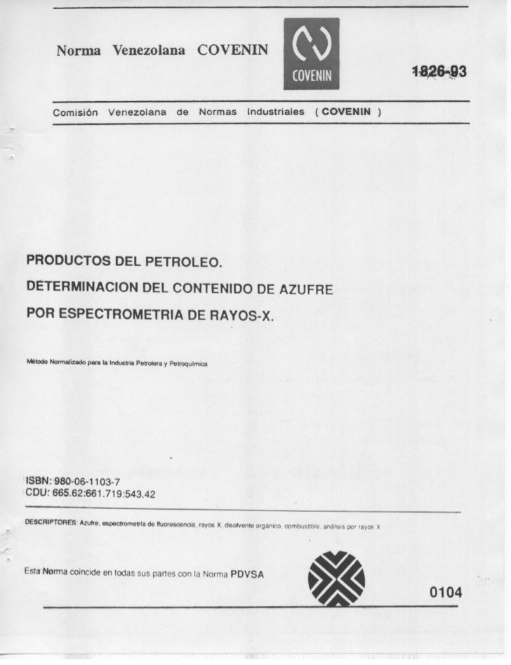 Determinación del contenido de azufre por Espectrometría de Rayos X