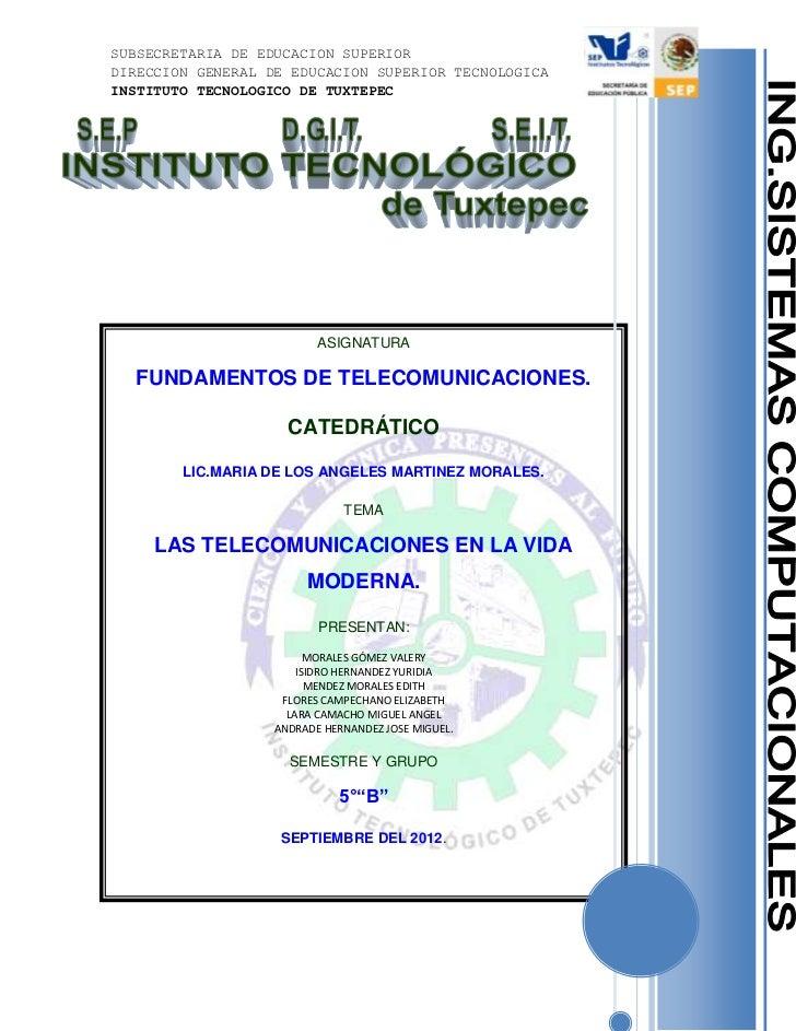 SUBSECRETARIA DE EDUCACION SUPERIORDIRECCION GENERAL DE EDUCACION SUPERIOR TECNOLOGICAINSTITUTO TECNOLOGICO DE TUXTEPEC   ...