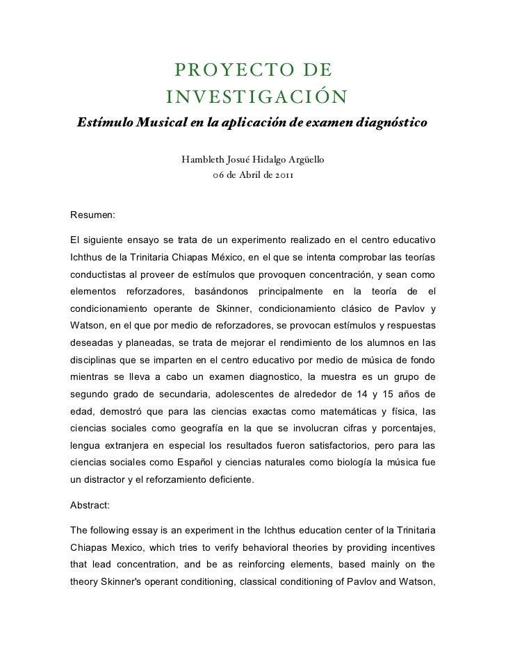 P ROY ECTO D E                      INVES TIGA CIÓN Estímulo Musical en la aplicación de examen diagnóstico               ...