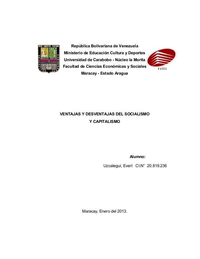 República Bolivariana de Venezuela Ministerio de Educación Cultura y Deportes Universidad de Carabobo - Núcleo la Morita F...