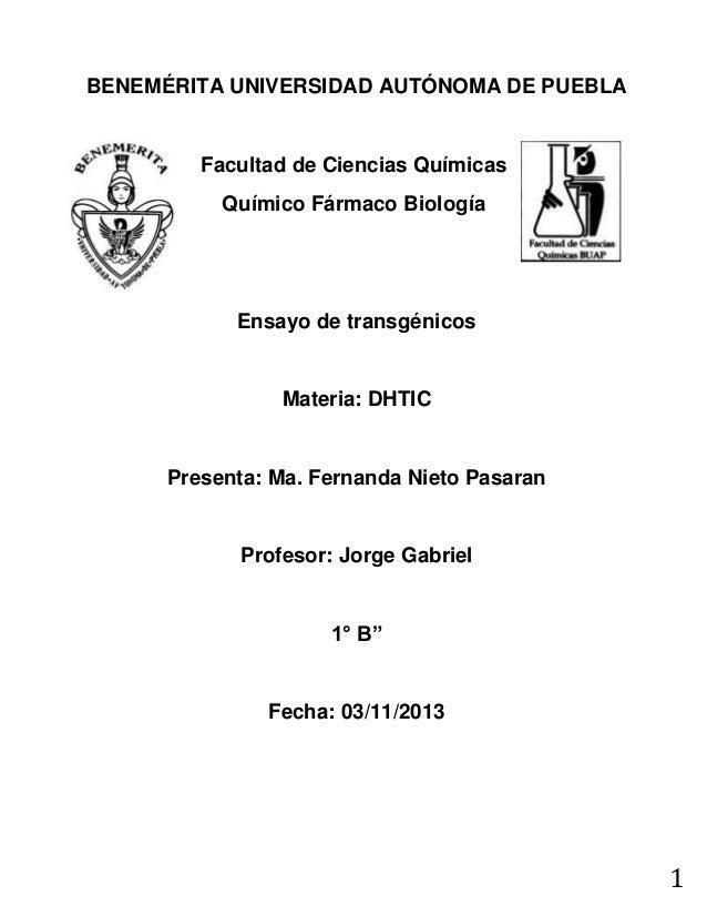 BENEMÉRITA UNIVERSIDAD AUTÓNOMA DE PUEBLA  Facultad de Ciencias Químicas Químico Fármaco Biología  Ensayo de transgénicos ...