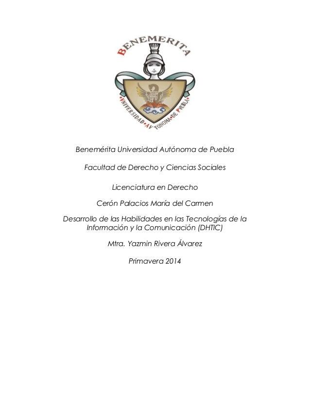 Benemérita Universidad Autónoma de Puebla Facultad de Derecho y Ciencias Sociales Licenciatura en Derecho Cerón Palacios M...