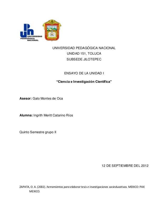 UNIVERSIDAD PEDAGÓGICA NACIONAL                                     UNIDAD 151, TOLUCA                                    ...