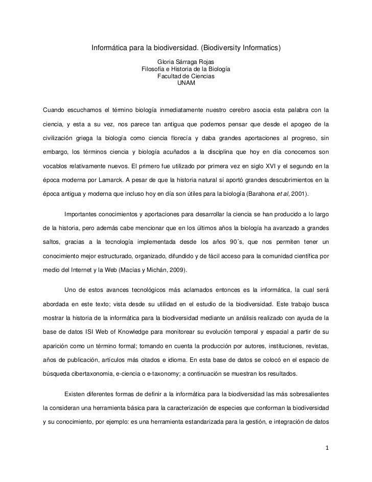 Informática para la biodiversidad. (Biodiversity Informatics)                                          Gloria Sárraga Roja...