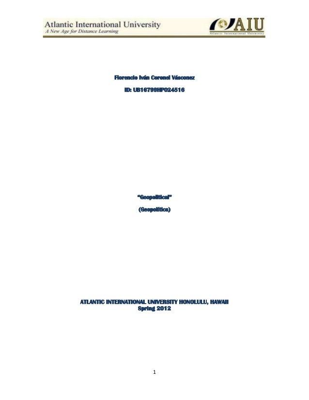 """Florencio Iván Coronel Vásconez              ID: UB16799HP024516                   """"Geopolitical""""                    (Geop..."""