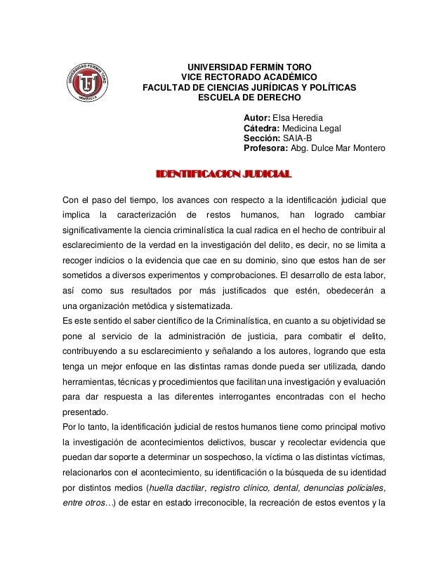 UNIVERSIDAD FERMÍN TORO VICE RECTORADO ACADÉMICO FACULTAD DE CIENCIAS JURÍDICAS Y POLÍTICAS ESCUELA DE DERECHO Autor: Elsa...