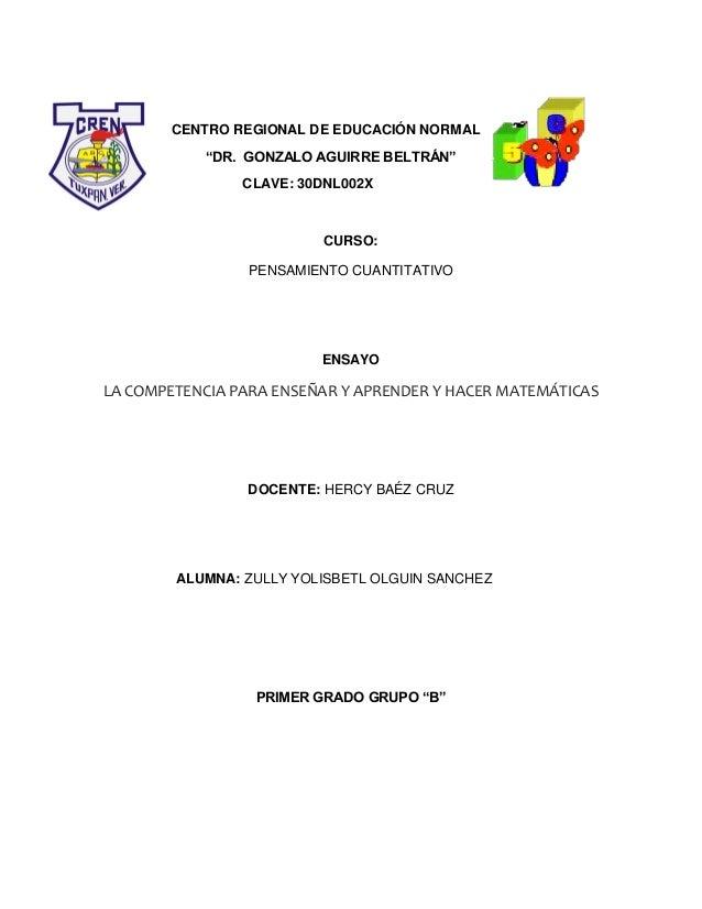 """CENTRO REGIONAL DE EDUCACIÓN NORMAL            """"DR. GONZALO AGUIRRE BELTRÁN""""                CLAVE: 30DNL002X              ..."""
