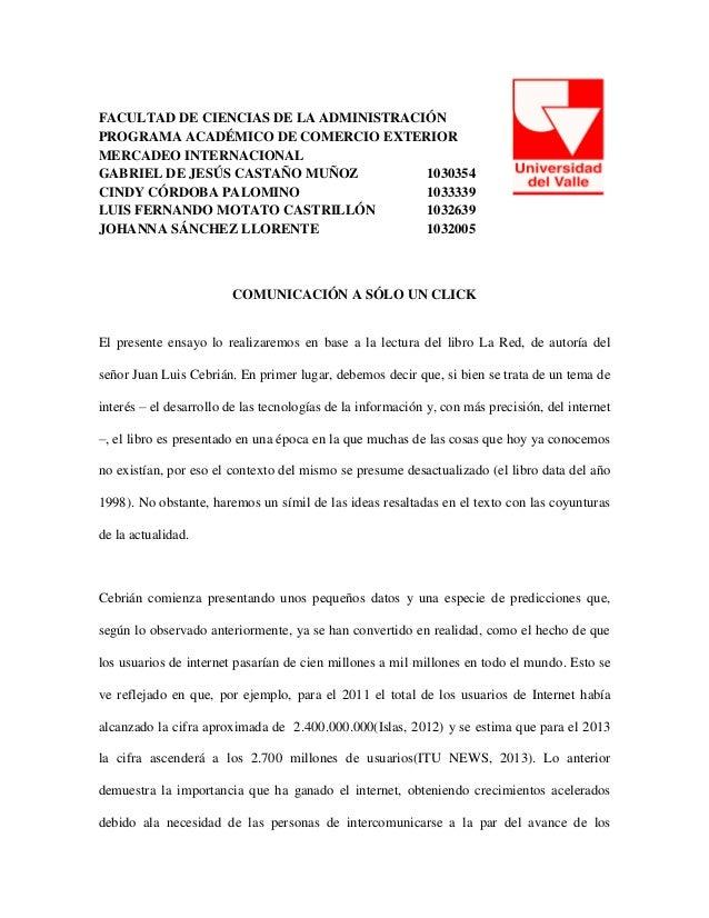 FACULTAD DE CIENCIAS DE LA ADMINISTRACIÓN PROGRAMA ACADÉMICO DE COMERCIO EXTERIOR MERCADEO INTERNACIONAL GABRIEL DE JESÚS ...