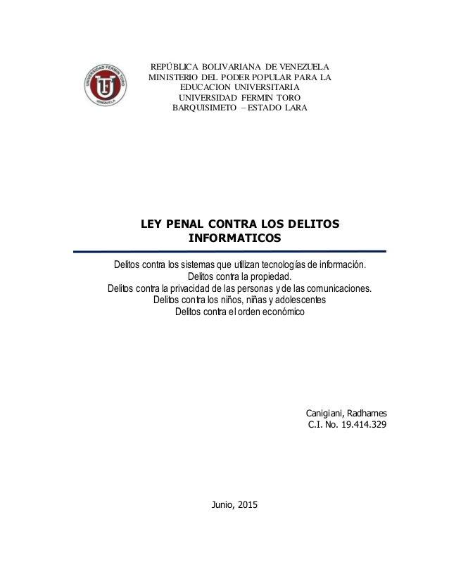 REPÚBLICA BOLIVARIANA DE VENEZUELA MINISTERIO DEL PODER POPULAR PARA LA EDUCACION UNIVERSITARIA UNIVERSIDAD FERMIN TORO BA...