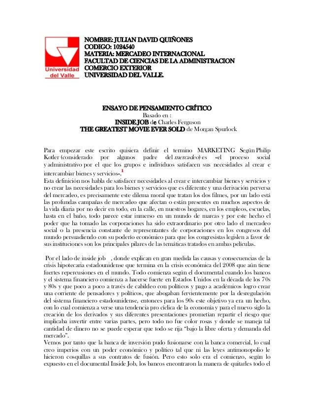 NOMBRE: JULIAN DAVID QUIÑONES                 CODIGO: 1024540                 MATERIA: MERCADEO INTERNACIONAL             ...