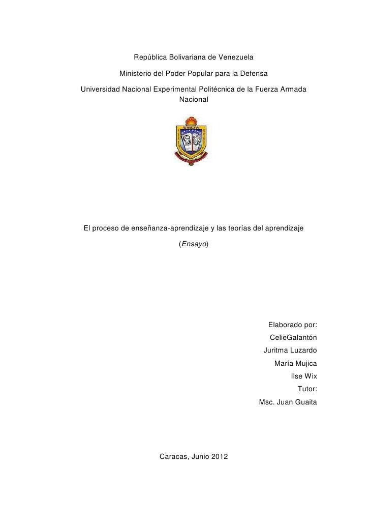 República Bolivariana de Venezuela           Ministerio del Poder Popular para la DefensaUniversidad Nacional Experimental...