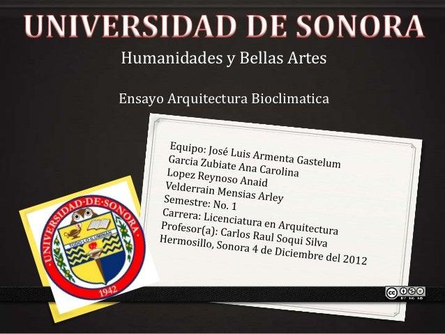 Humanidades y Bellas ArtesEnsayo Arquitectura Bioclimatica