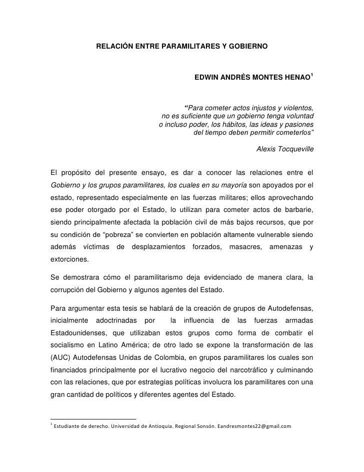 RELACIÓN ENTRE PARAMILITARES Y GOBIERNO                                                         EDWIN ANDRÉS MONTES HENAO1...