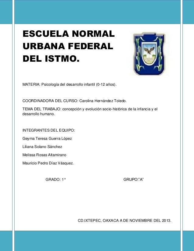 ESCUELA NORMAL URBANA FEDERAL DEL ISTMO. MATERIA: Psicología del desarrollo infantil (0-12 años).  COORDINADORA DEL CURSO:...