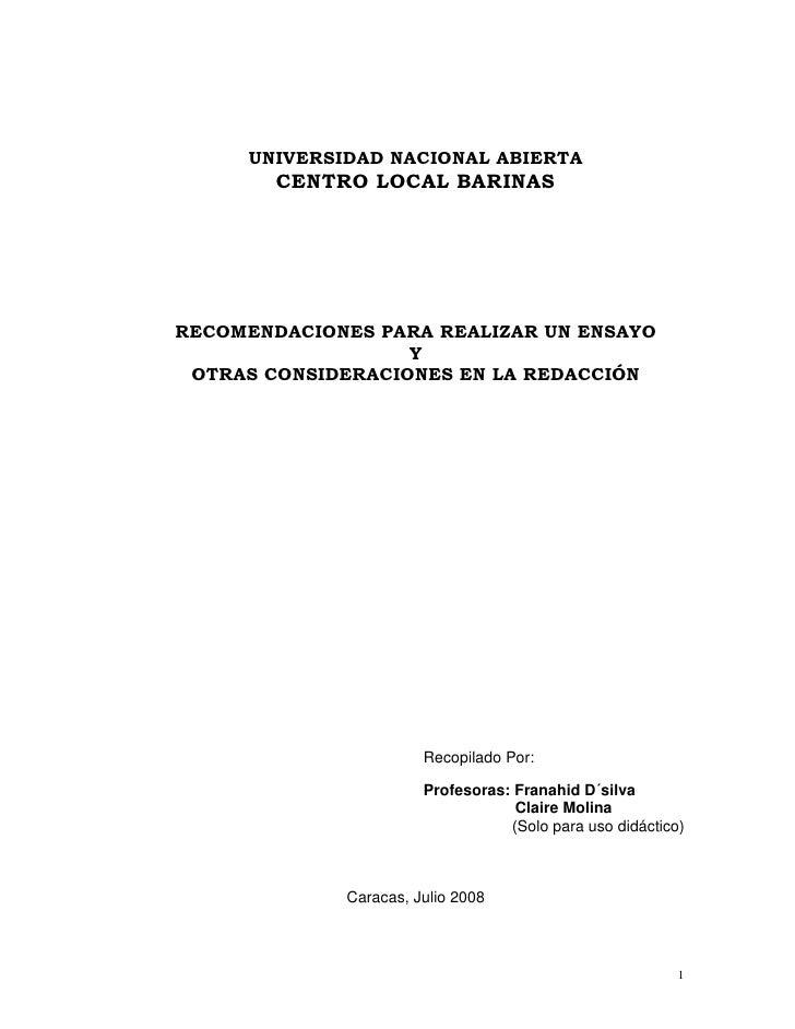 UNIVERSIDAD NACIONAL ABIERTA        CENTRO LOCAL BARINASRECOMENDACIONES PARA REALIZAR UN ENSAYO                   Y OTRAS ...