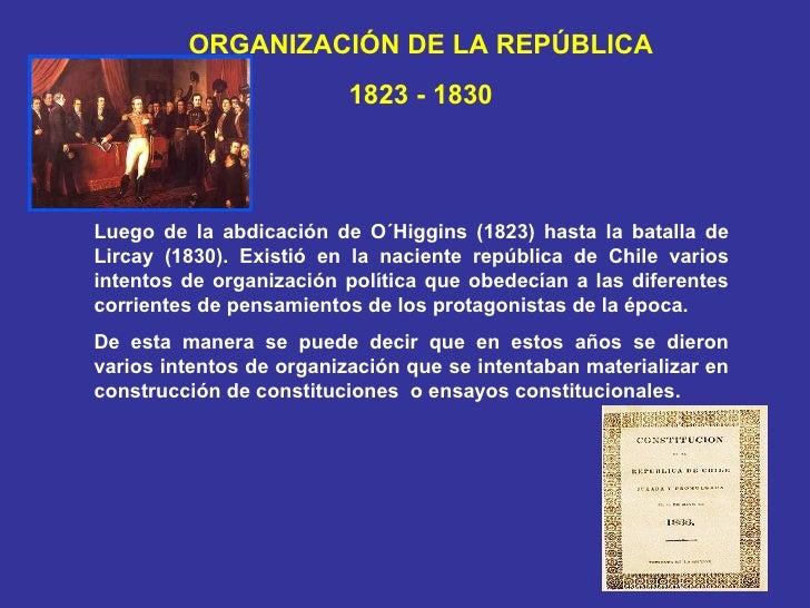 ORGANIZACIÓN DE LA REPÚBLICA 1823 - 1830 Luego de la abdicación de O´Higgins (1823) hasta la batalla de Lircay (1830). Exi...