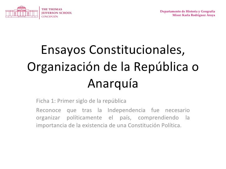 Ensayos Constitucionales, Organización de la República o Anarquía Ficha 1: Primer siglo de la república Reconoce que tras ...