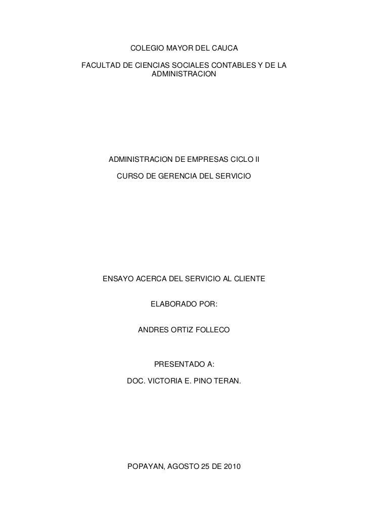 COLEGIO MAYOR DEL CAUCAFACULTAD DE CIENCIAS SOCIALES CONTABLES Y DE LA                ADMINISTRACION      ADMINISTRACION D...