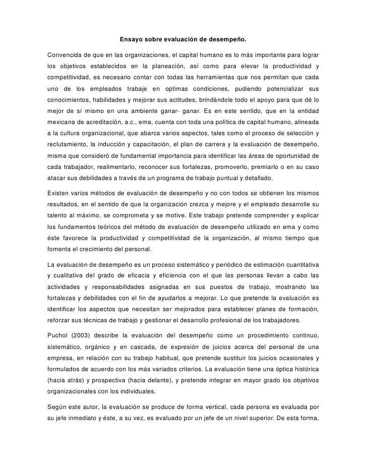 Ensayo sobre evaluación de desempeño 2012 06-18
