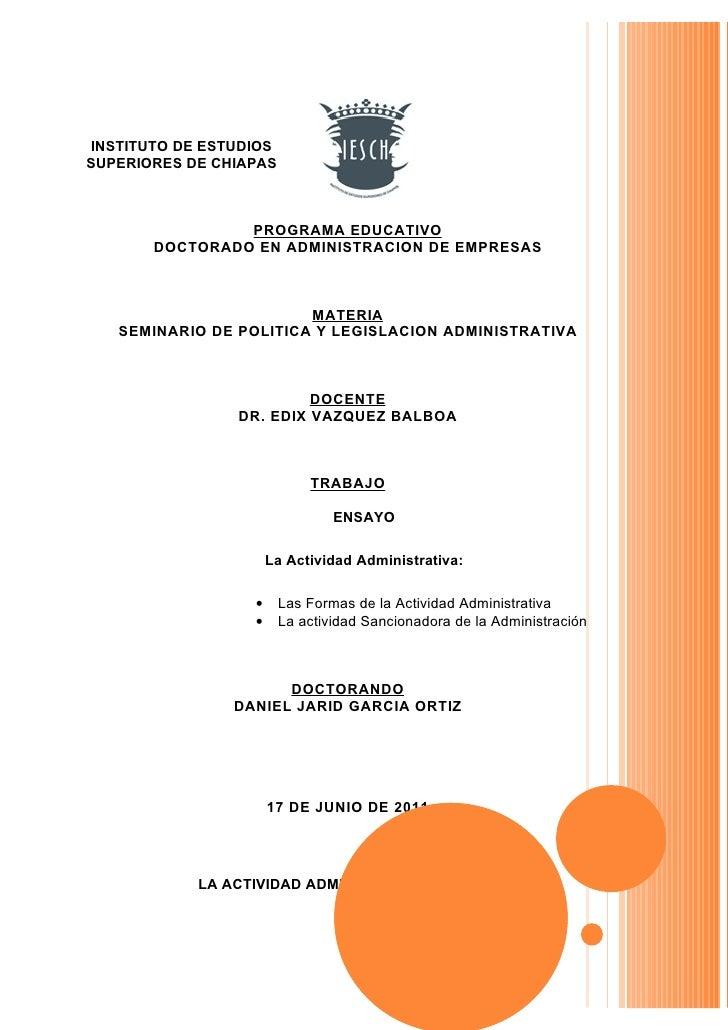 INSTITUTO DE ESTUDIOSSUPERIORES DE CHIAPAS                PROGRAMA EDUCATIVO       DOCTORADO EN ADMINISTRACION DE EMPRESAS...