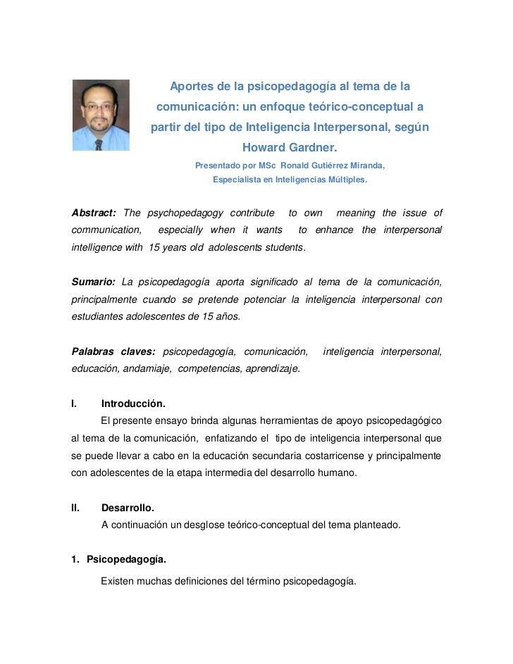 Aportes de la psicopedagogía al tema de la                    comunicación: un enfoque teórico-conceptual a               ...