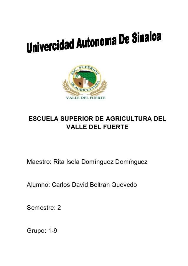 ESCUELA SUPERIOR DE AGRICULTURA DEL         VALLE DEL FUERTEMaestro: Rita Isela Domínguez DomínguezAlumno: Carlos David Be...