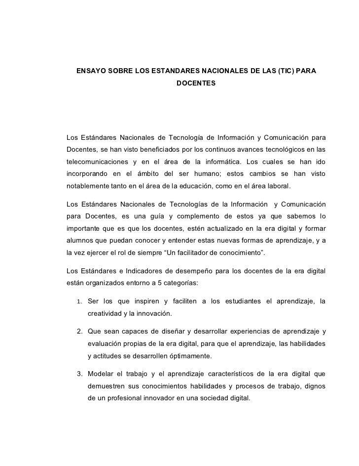 ENSAYO SOBRE LOS ESTANDARES NACIONALES DE LAS (TIC) PARA                                       DOCENTES     Los Estándares...